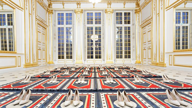 """""""Silence"""", œuvre deZoulikha Bouabdellah, lors de son installationau Pavillon Vendôme àClichy-la-Garenne (Hauts-de-Seine). (ZOULIKHA BOUABDELLAH / ALEXANDRE MAYEUR / GALERIE ANNE DE VILLEPOIX)"""