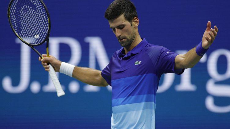 Novak Djokovic après sa victoire en huitième de finale, mardi 7 septembre. (SARAH STIER / GETTY IMAGES NORTH AMERICA / AFP)