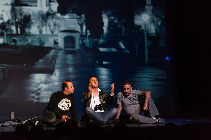 """""""Djihad"""", ici présentée au Théâtre d'Arras en juin 2015, sous surveillance policière.  (PASCAL BONNIERE/PHOTOPQR/VOIX DU NORD)"""
