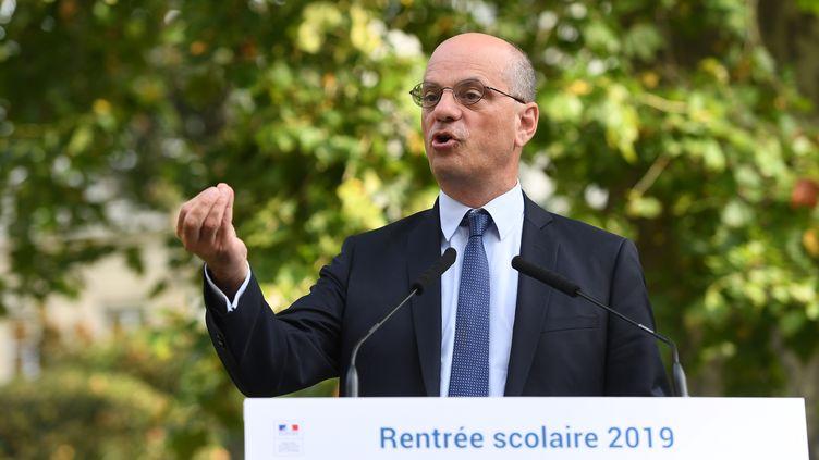 Jean-Michel Blanquer, le ministre de l'Éducation, lors de la conférence de rentrée, le 27 août 2019. (CHRISTOPHE ARCHAMBAULT / AFP)