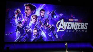 """Présentation du film """"Avengers : Endgame"""" par Cathleen Taff de Walt Disney Pictures à Las Vegas (Nevada), le 3 avril 2019. (VALERIE MACON / AFP)"""