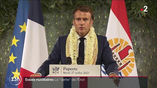 """Essais nucléaires en Polynésie : Emmanuel Macron reconnaît """"la dette"""" de l'État"""