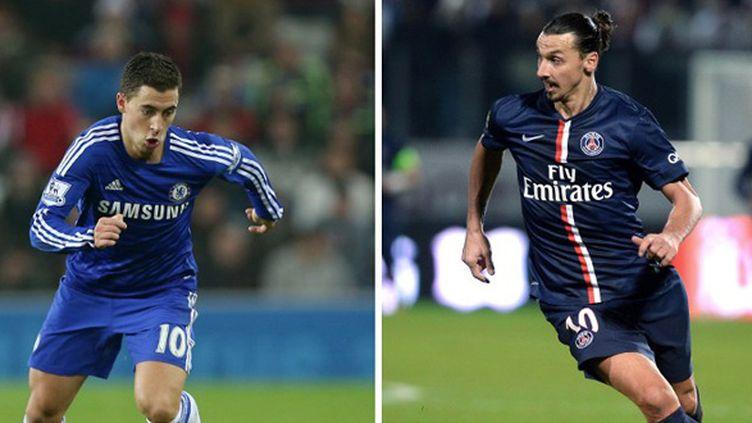 Qui d'Eden Hazard ou de Zlatan Ibrahimovic pèsera le plus sur ce PSG-Chelsea ?  (IAN MACNICOL / AFP)