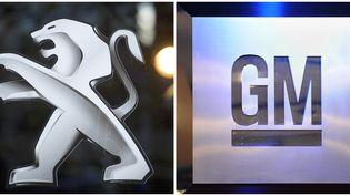 Les logos de Peugeot et de General Motors, groupes automobiles partenaires depuis le 29 février 2012. (LIONEL BONAVENTURE / AFP)
