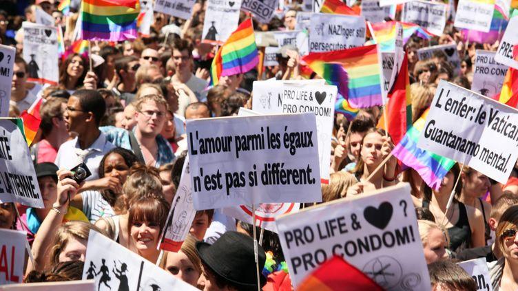 Des centaines de personnes défilent lors de la dixième Marche des fiertés lesbiennes, gay, bi, homosexuelles et transsexuelles, à Paris, le 25 juin 2011. (SMAIL AZRI / WOSTOK PRESS / MAXPPP)