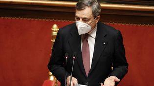 Le Premier ministre italien Mario Draghui au Sénat à Rome mercredi 17 février 2021. (YARA NARDI / AFP)