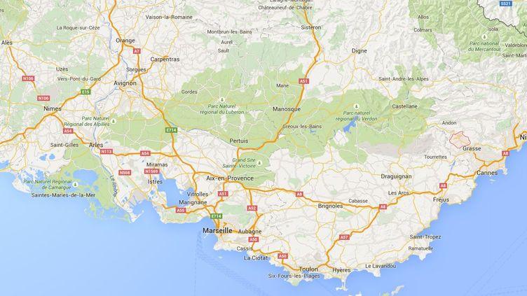 Capture d'écran de Google maps pointantSaint-Vallier-de-Thiey (Alpes-Maritimes) où un incendie a ravagé 120 hectares entre le 29 et le 30 juillet 2015. (GOOGLEMAPS)