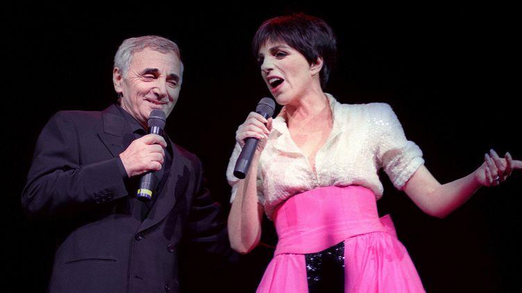 Charles Aznavour et Liza Minnelli à Paris en 1991  (Bertrand GUAY / AFP)