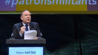 Pierre Gattaz, président du Medef, prend la parole lors d'un meeting rassemblant plusieurs syndicats patronaux, à Lyon, le 3 décembre 2014. (PHILIPPE DESMAZES / AFP)
