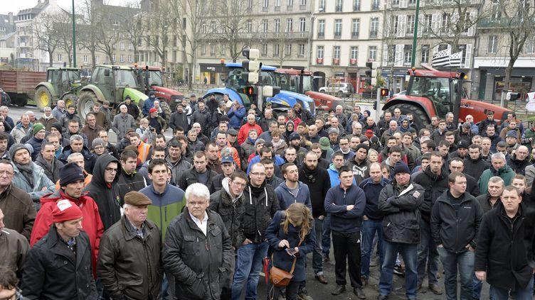 Une centaine d'agriculteurs manifestent devant la préfecture du Finistère à Quimper,le 20 janvier 2016 (MAXPPP)