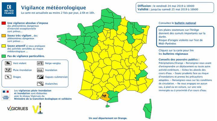 Météo France a placé le département de l'Ariège en vigilance orange, le 24 mai 2019. (METEO FRANCE)