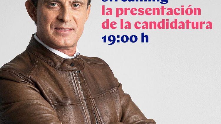 L'affiche de Manuel Valls pour l'élection munipale de Barcelone (Espagne). (CAPTURE D'ÉCRAN TWITTER)