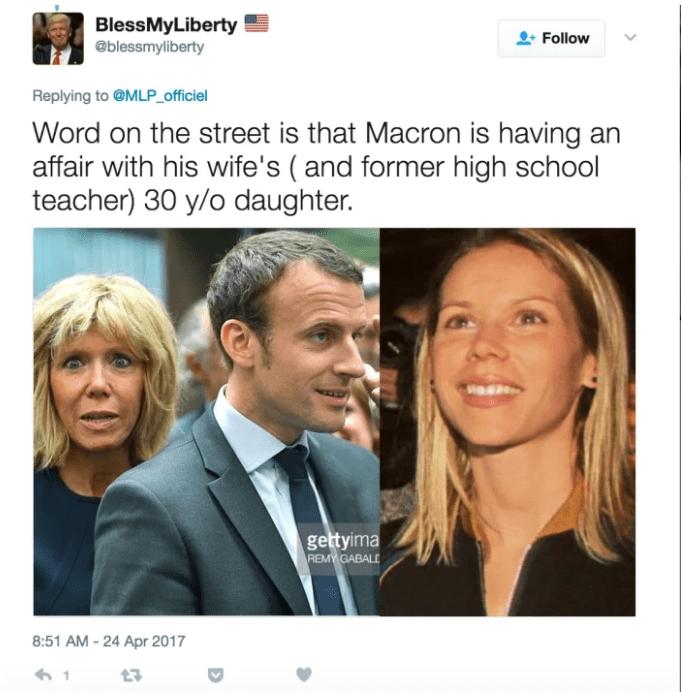 Blessmyliberty, un compte Twitter américain, relaie une rumeur à propos d'une liaison entre Emmanuel Macron et sa belle-fille. (DR)