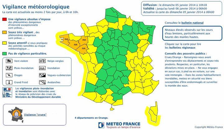 """Quatre départements, le Finistère, l'Ille-et-Vilaine, le Morbihan et la Loire-Atlantique sont en vigilance orange """"crues"""". (METEO FRANCE)"""