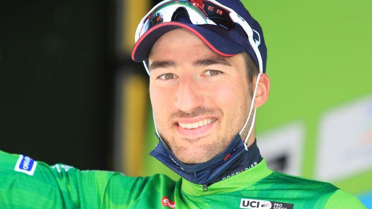 Deuxième victoire d'étape pour Gianni Moscon sur cette édition du Tour des Alpes.  (PIERRE TEYSSOT / MAXPPP)