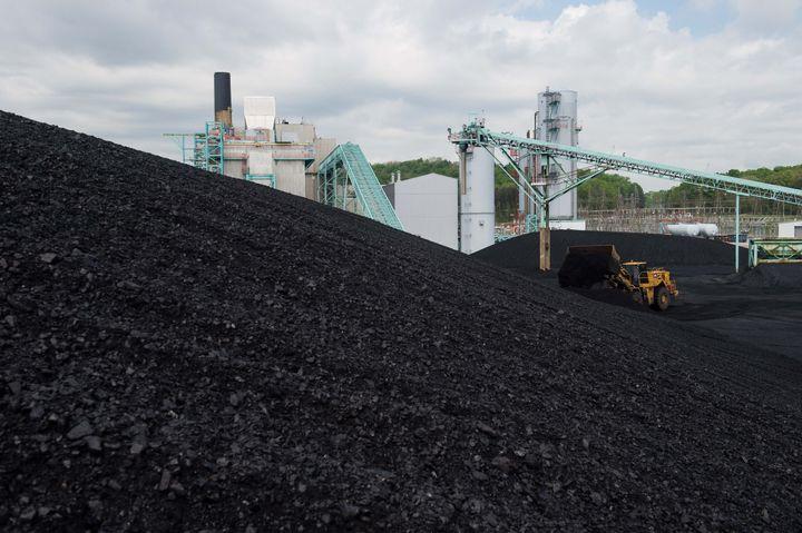 Du charbon stocké dans une centrale thermique près de Somerset dans le Kentucky (Etats-Unis), le 19 avril 2017. (NICHOLAS KAMM / AFP)