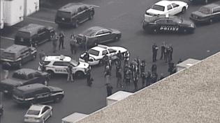 Des policiers sur les lieux d'une fusillade dans le Maryland (USA) le 20 septembre 2018 (CAPTURE ECRAN FRANCE 3)