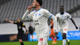 L'attaquant de l'OM Nemanja Radonjic, après avoir inscrit un but contre Montpellier le 6 janvier 2021 au stade Vélodrome de Marseille (Bouches-du-Rhône). (CHRISTOPHE SIMON / AFP)