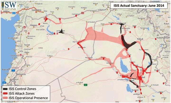 Carte datant de juin 2014. Les territoires sous le contrôle effectif de l'Etat Islamique sont en noir, ses zones opérationnelles en rose et ses zones d'attaques en rouge. (Institute for the study of war)