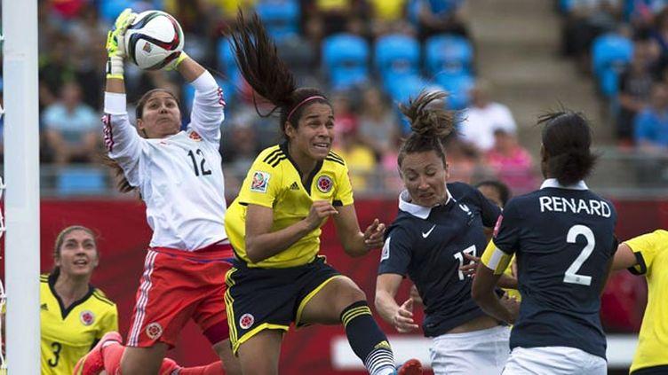(La gardienne colombienne Sepulveda a sauvé les siennes à plusieurs reprises, pour assurer la victoire colombienne 2 à 0 face à la France © Andrew Vaughan/AP/SIPA)