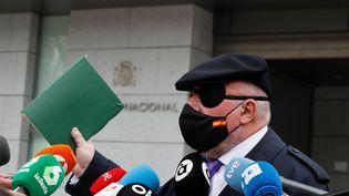 "L'ancien policier espagnol José Manuel Villarejo accusé notamment de ""corruption"", à Madrid le 4 mars 2021. (EMILIO NARANJO / EFE / MAXPPP)"