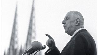 Le général de Gaulle prononce son dernier discours en public à Quimper, le 2 février 1969. (AFP)