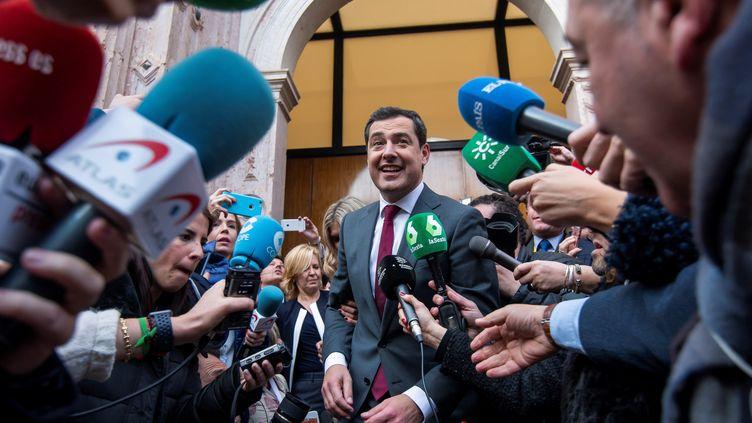 Juanma Moreno, le président élu du gouvernement andalou s'adresse à la presse à Séville, le 16 janvier 2019. Il a été élu avec les voix du PP, Cuidadanos et Vxx. (MAXPPP)