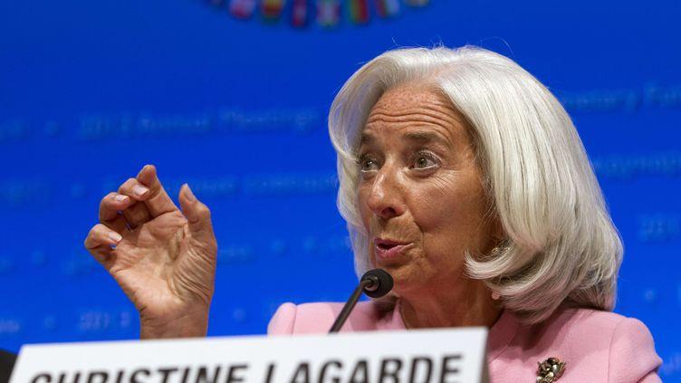 La présidente du Fonds monétaire international, Christine Lagarde, le 10 octobre 2013 à Washington (Etats-Unis). (JOSE LUIS MAGANA / SIPA)