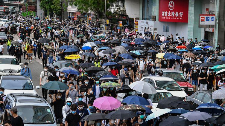 Des manifestants à Hong Kong, le 24 mai 2020. (ANTHONY WALLACE / AFP)
