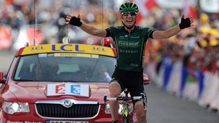 Pierre Rolland (Europcar) vainqueur au sommet de l'Alpe-d'Huez en 2011