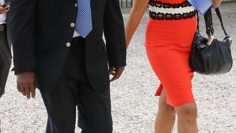 Ary Chalus et Marie-Luce Penchard, respectivement président et vice-présidente de la région Guadeloupe, ici le 29 juin 2018 à Matignon. (JACQUES DEMARTHON / AFP)