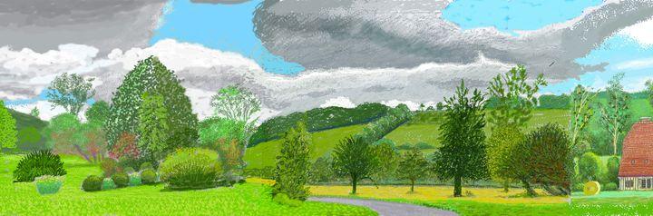 """David Hockney, """"A Year in Normandie"""", 2020-2021 (detail), Composite iPad painting (© David Hockney)"""