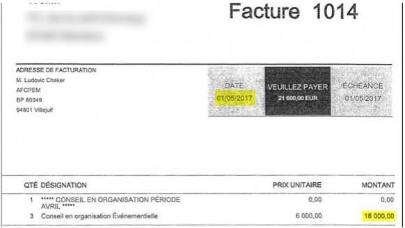 Extraits de deux factures adressées par la société Yamm àEn marche, l'une de 6000 euros, l'autre de 18000 euros. (FRANCEINFO / RADIOFRANCE)