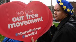 Un militant anti-Brexit à Londres, au Royaume-Uni, le 31 janvier 2020. (GLYN KIRK / AFP)