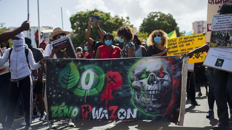 Des manifestants protestent contre le possible non-lieu dans l'affaire du chlordécone, le 27 février 2021, à Fort-de-France (Martinique). (LIONEL CHAMOISEAU / AFP)