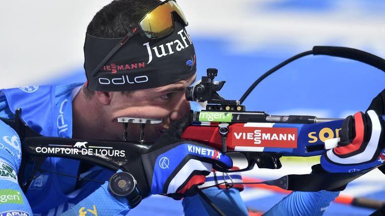 Quentin Fillon Maillet  lors du sprint à Nove Mesto, le 11 mars 2021.  (MICHAL CIZEK / AFP)