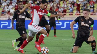 Wissam Ben Yedder lors du match aller face auShakhtar Donetsk, le 17 août 2021, à Monaco. (VALERY HACHE / AFP)