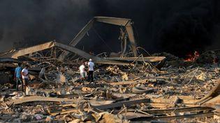 Après les explosions sur le port de Beyrouth (Liban), le 4 août 2020. (STR / AFP)