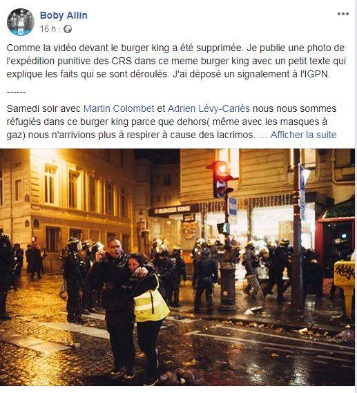 Capture d'écran du message posté le 4 décembre 2018 sur Facebook par le photographe Boris Allin, accompagné d'une photo prise devant le Burger King de l'avenue de Wagram, à Paris, le 1er décembre 2018. (BORIS ALLIN / FACEBOOK)