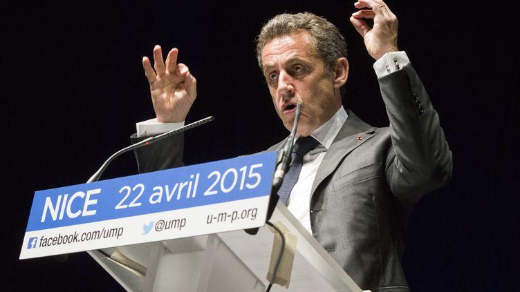 Le président de l'UMP, Nicolas Sarkozy, le 22 avril 2015 à Nice (Alpes-Maritimes). (CITIZENSIDE / ERICK GARIN / AFP)
