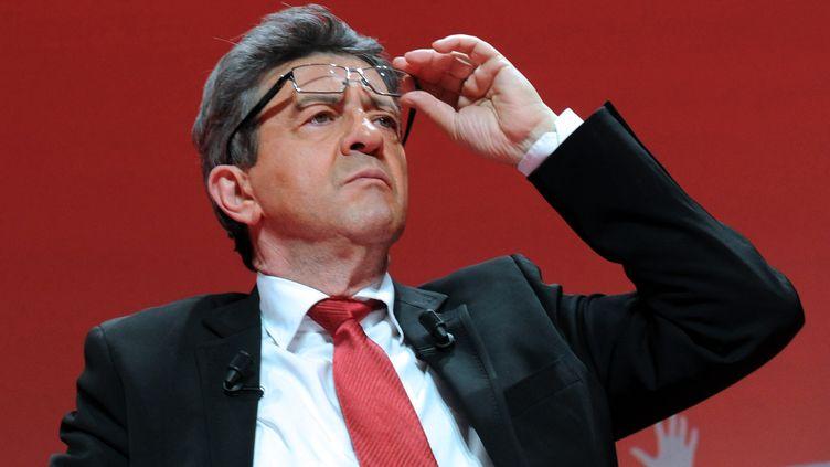 Le candidat du Front de gauche, Jean-Luc Mélenchon, en meeting à Lille, le 27 mars 2012. (FRANCOIS LO PRESTI / AFP)