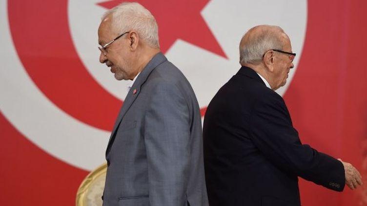 Le président tunisien, Béji Caïd Essebsi, et le dirigeant d'Ennahda, Rached Ghanoucchi, au siège de la présidence à Carthage, près de Tunis, le 13 juillet 2016. (FETHI BELAID / AFP)