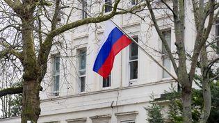 L'ambassade de Russieà Londres (Royaume-Uni), le 8 février 2018. (ALEX MCNAUGHTON / SPUTNIK / AFP)
