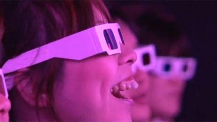 Une jeune Japonaise regarde un spectacle en trois dimensions (AFP)