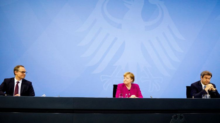 La chancelière allemande, Angela Merkel, le 4 mars 2021 à Berlin (Allemagne). (MARKUS SCHREIBER / AFP)