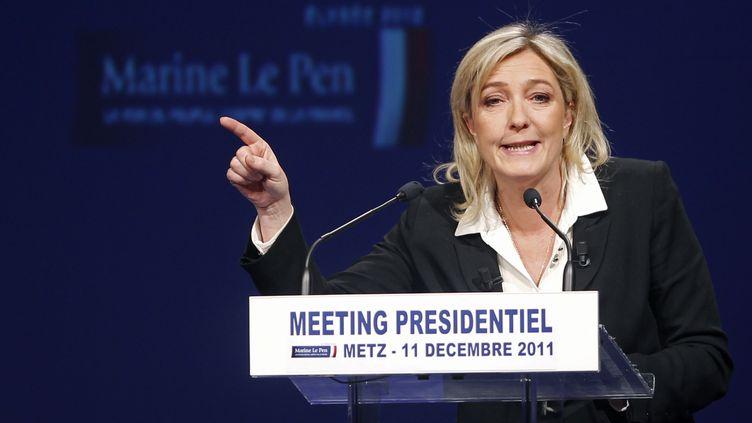 Marine Le Pen, la candidate du Front national à la présidentielle, en meeting à Metz (Moselle), le 11 décembre 2011. (VINCENT KESSLER /REUTERS)