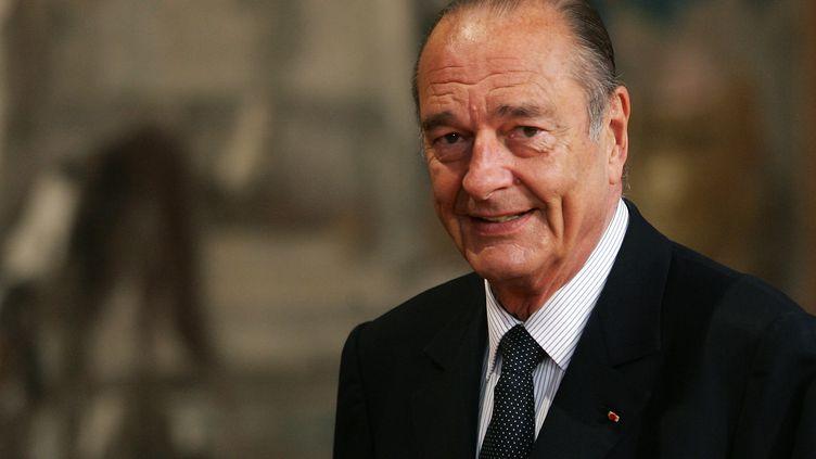 Jacques Chirac, le 5 mai 2006 à l'Elysée, à Paris. (PATRICK KOVARIK / AFP)