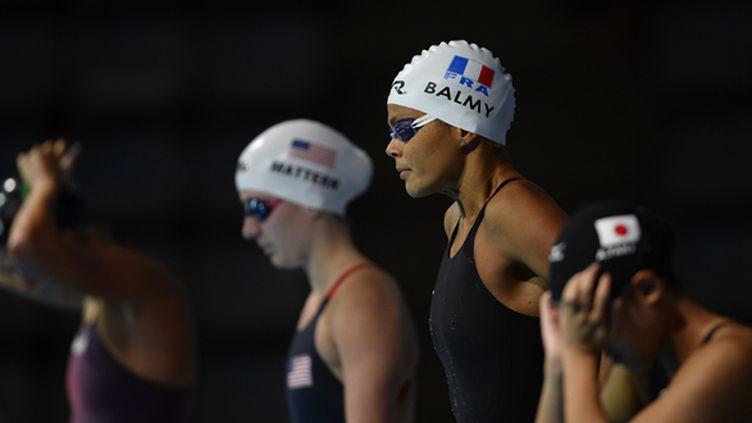Coralie Balmy lors de la demi-finale du 4x200m nage libre (PIERRE-PHILIPPE MARCOU / AFP)
