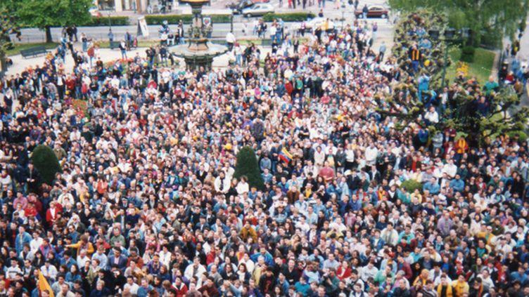 La foule massée devant l'hôtel de ville de Limoges pour ovationner le CSP champion d'Europe