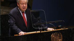Le secrétaire général de l'ONU, Antonio Guterres, le 22 septembre 2021 à New York (Etats-Unis). (JOHN ANGELILLO / GETTY IMAGES NORTH AMERICA / AFP)
